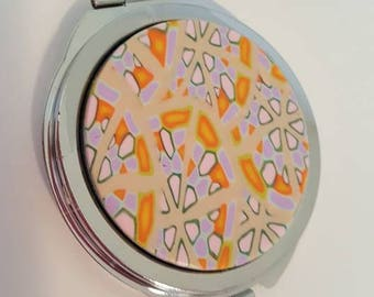 Compact Lavender and Orange abstract silver