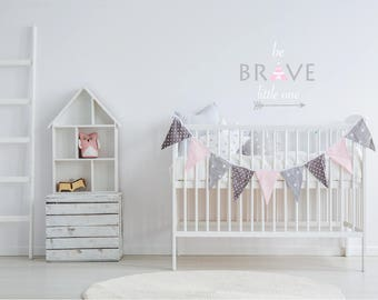 TeePee Wall Decal-Nursery Wall Decals- Wall Decals-Girls Wall Art-Arrow, Be Brave Wall Quote-Kids Wall Decals-Wall Stickers