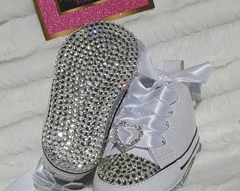 Baby Converse, Newborn converse, infant bling shoes, baby converse, baby Bling shoes, newborn shoes, baptism shoes, christening shoes