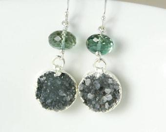 50% OFF SALE - Silver Aqua Green Quartz & Charcoal Grey Druzy Earrings - 925 Silver