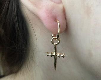 Gold Charm Hoop, Gold Cross Hoop Earrings, Cross Hoops, Huggie Earrings, Tiny Hoop Earrings