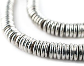 250 Smooth Silver Heishi Beads: Metal Spacer Beads Ethnic Metal Beads Boho Silver Beads Heishi Shaped Beads Handmade Beads (MET-HSH-SLV-571)