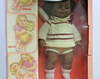 Rare Vintage Horsman Baby Sofskin African American Doll Never Removed from Box