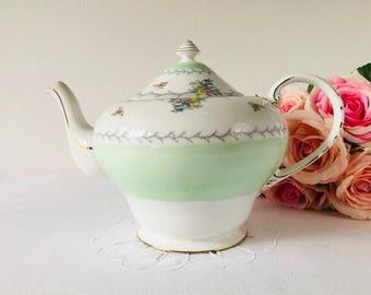 Large Royal Grafton 'Pevensey' Teapot, Green & Floral, Staffordshire, 1940s.