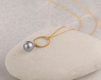 Pearl necklace/Peackock Grey  Pearl necklace/Teardrop Pearl Necklace/Grey pearl Necklace/June Birthstone/Bridesmaids Jewellery