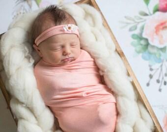 Newborn headband and wrap, Newborn photo prop, Newborn Wrap Set, Wrap and headband, newborn girl, newborn props, Blush newborn wrap