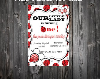 Lady Bug FIrst Birthday Party Invitation