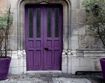 Purple Door Print, Paris Photography, Gray, Purple, Plum, Rustic, Architecture