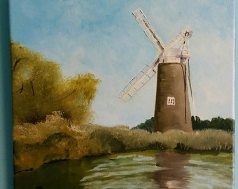 Windmill  Oil painting on stretched by Stephen Poulter