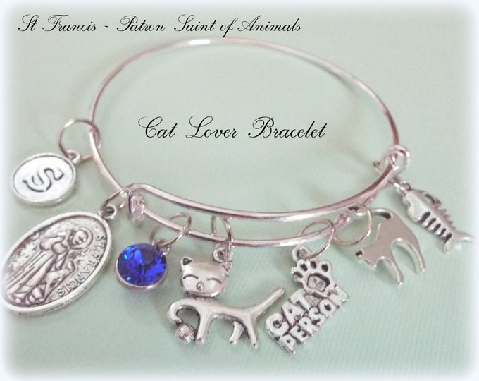 Cat Lover Gift, Charm Bracelet for Cat Ladies, Cat Person Lover Jewelry, Personalized Jewelry Gift, Protection Jewelry, Patron Saint Charm