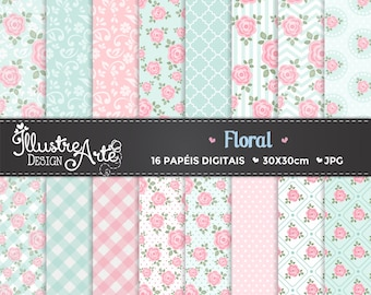 50% OFF - Floral Flowers Digital Paper
