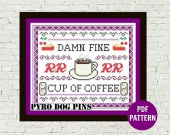 Twin Peaks Cross Stitch Pattern 'Damn Fine Cup Of Coffee' modern sampler INSTANT DOWNLOAD / PDF