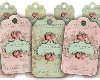 Floral Carte Postale Tags Digital Collage Sheet Download - 490 - Digital Paper - Instant Download Printables