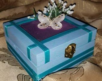 Blue Butterfly Jewelry Box
