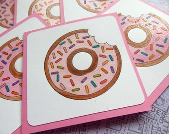 3x3  Note cards- DONUTS -  Mini Note Cards with Envelopes (6)