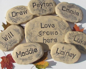 "Personalized garden stones with Grandchildren names. Name Art, Garden decor. ""Love grows here"" garden sign. Set of 8 ceramic plant markers"
