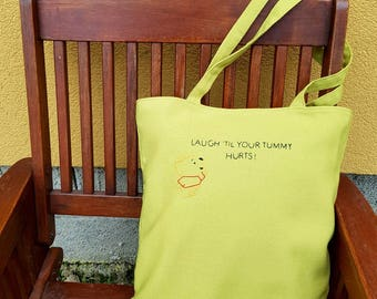 Tote Bag, Canvas Eco Shopping Bag, Custom Embroidery Gift, Gift for Kid, Birthday Gift