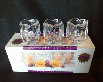 St. George Lead Crystal Votives - Set of Three - Made in USA