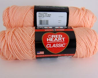 sea coral -  Red Heart Classic yarn worsted weight  2027