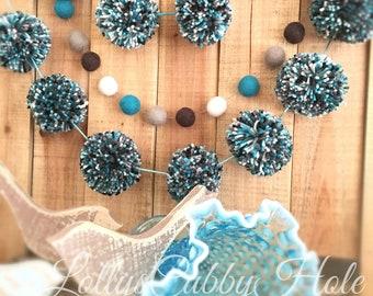 Turquoise Yarn Pom Pom Garland, Multi Color Pom Pom Garland, Teal, Black, White, Gray, Home Decoration 6 Ft.