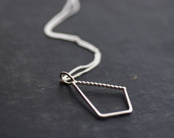 Geometric Diamond with Beaded Side - Sterling Silver - Chain Necklace - Asymmetrical