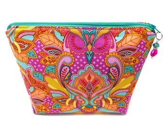 Cosmetic Bag Vinyl Lined Zipper Pouch Pink Teal Orange Owls