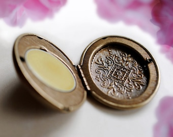 Rosa, A Luxury Natural Botanical Solid Perfume in an engraved mini compact - Wild woodland rose - Fragrant escape to the wilderness for her