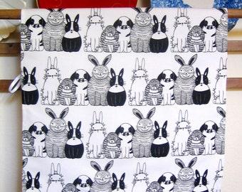 Bunnies in Rows Print Linen/Canvas Kitchen Towel