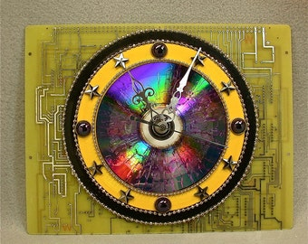 Recycled CIRCUIT BOARD Wall CLOCK Yellow Black Geekery