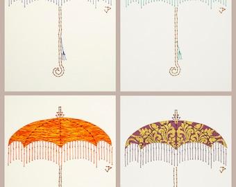 Vintage parasol fashion illustration wall art. Victorian bedroom decor. Original hand embroidery cut paper art. Boudoir gallery wall decor
