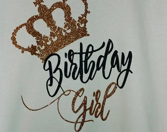 Birthday Girl Tee with Gold Glitter