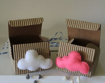 CLOUD with drops. felt brooch, pin, gift under 15