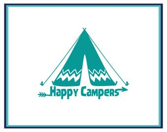 Happy Campers Decal - Camp Car Decal - Camp Window Decal - Adventure Decal - Laptop Decal - Window Decal - Yeti Decal - Boho Decal