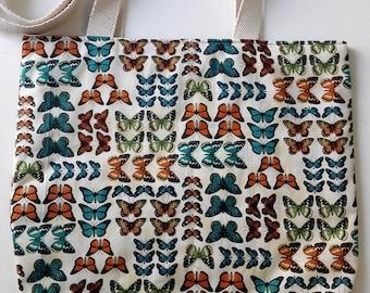 Butterflies tote bag. Butterflies maxi bag. Butterflies shopping bag. Vintage tote bag. Fancy butterflies bag. Butterflies summer bag.