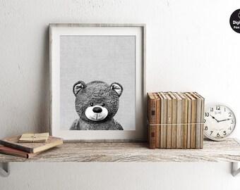 Teddy Bear - Black and White, Printable Wall Art, Cute Teddy Nursery Decor, Modern Home Decor, Bear Playroom Poster, Toy Animal Photography