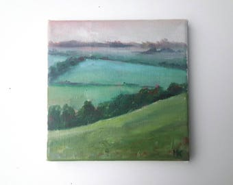 original oil painting, landscape painting, small painting, dutch painting, 6x6 painting, oil on canvas, free hipping, little painting