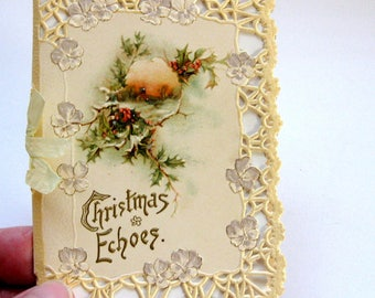 Stunning Vintage 1800s Christmas Card Booklet, Floral, Elegant Embossed, Die cut Features