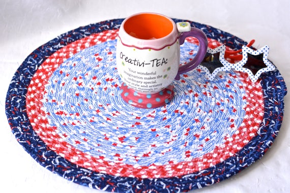 """Summer Home Decor, Place Mat 16"""", Handmade Blue Star Trivet, 16"""" Quilted Hot pad, Patriotic Gift, Potholder, Coiled Rope Mat"""