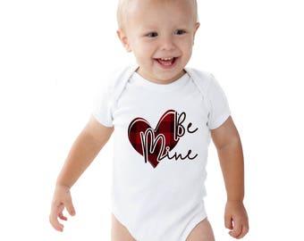 Be Mine Valentine Buffalo Plaid Heart Baby bodysuit