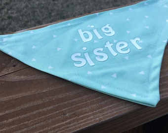 Xsmall pregnancy announcement dog bandana- big sister!