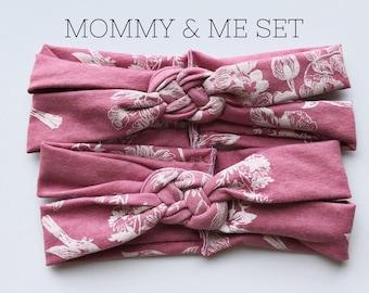 Antique Pink : Mommy & Me set - Sailors Knot headbands, mauve, rose, blush