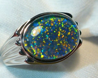Mens Opal Ring Sterling Silver, Natural Opal Triplet. 16x12mm Oval . item 060515