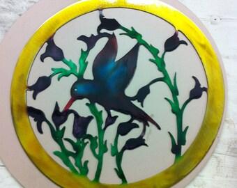 Floral Hummingbird Metal Art Hummingbird Metal Dyed Steel Hummingbird