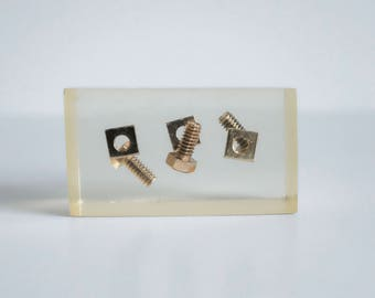 Vintage Lucite Encased Nuts and Bolts Mechanics Paperweight