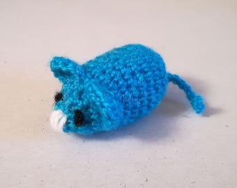 Little Mouse, Hand Knitted, Blue Toy Mouse, Stuffed Mouse