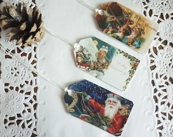 Photo paper and cardboard, Christmas tags vintage.