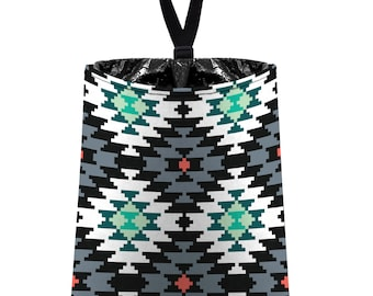 Car Trash Bag // Auto Trash Bag // Car Accessories // Car Litter Bag // Car Garbage Bag - Aztec Tribal Navajo - Grey Black Mint Coral