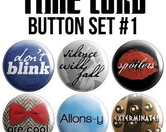 Time Lord Pinback Button Set #1