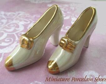 Miniature Porcelain Shoes * High Heel Display Shoe * Shoe Figurines * Shoe Decor