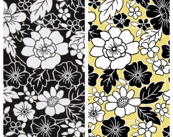 FLOWER/FLORAL Cotton Fabric - White, Black, Yellow [[by the half yard]]